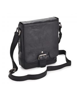 Black Leather Flight Bag - Kingston