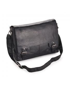 Black Leather Laptop Bag - Kingston