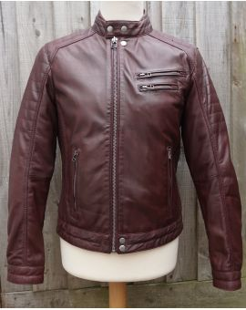 Brampton Leather Biker Jacket - Burgundy Coats & Jackets