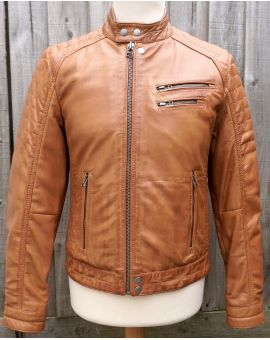 Brampton Leather Biker Jacket - Cognac Coats & Jackets