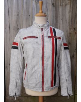 Vintage Wash Effect White Leather Jacket