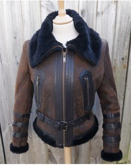 Ladies Sheepskin Aviator Jacket