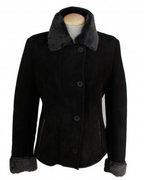 Ladies Sheepskin Coat - Black Coats