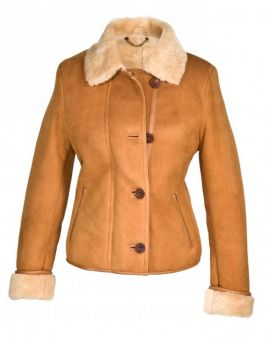 Ladies Sheepskin Coat - Tan Coats