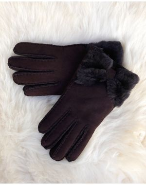 Fenland Sheepskin Bow Gloves - Brown
