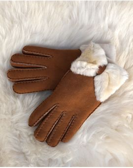Fenland Sheepskin Bow Gloves - Tan Gloves