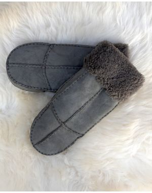 Ladies Sheepskin Mittens - Grey Gloves