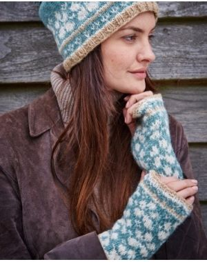 Lost Garden Wool Hand Warmers - Duck Egg Gloves