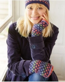 Granada Wool Hand Warmers - Navy Gloves