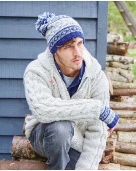 Stornoway  Wool Bobble Beanie - Blue Hats & Caps