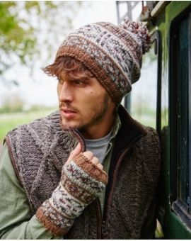Stornoway Wool Bobble Beanie - Earth Hats & Caps