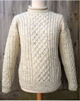 Wool Roll Collar Aran Jumper