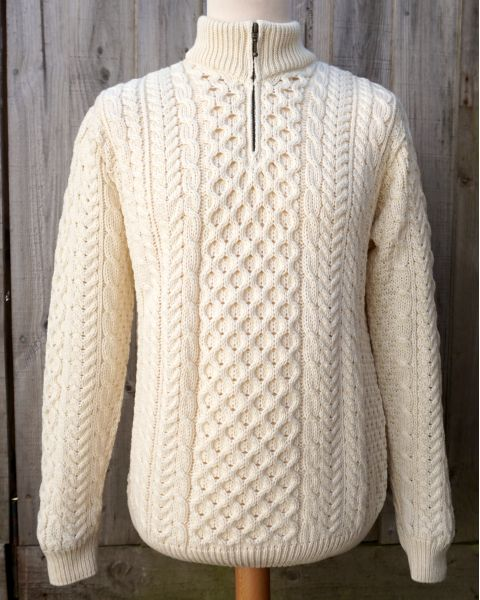 Merino Wool Aran Zip Jumper