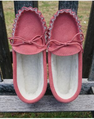 Pink Suede Moccasin Slippers with Lambswool Lining - Hard Sole Moccassin Slippers