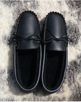 Black Sheepskin Lined Moccasin Slippers - Hard Sole Footwear