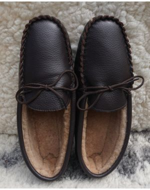 Brown Sheepskin Lined Moccasin Slippers - Hard Sole Footwear