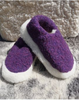 Purple Merino Wool Slippers - Siberian