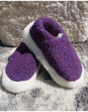 Purple Merino Wool Slippers - Siberian Footwear