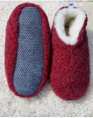 Red Merino Wool Bootie Slippers - Skiper Footwear