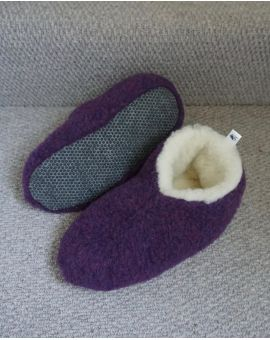 Purple Merino Wool Bootie Slippers - Skiper Footwear
