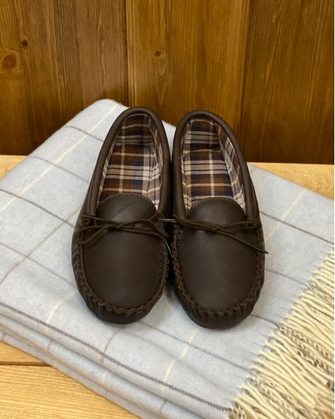 Leather Moccasin Slippers Hard Sole