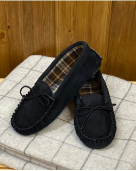 Suede Moccasin Slippers with Fabric Lining Hard Sole Mens