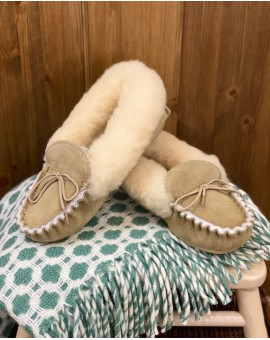 Ladies Sheepskin Lined Moccasin Slippers Hard Sole