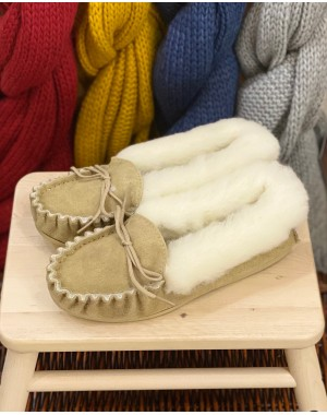 Ladies Suede Moccasin Slippers with Lambswool Lining Hard Sole Footwear