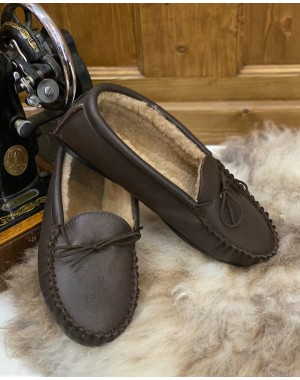 Sheepskin Lined Leather Moccasin Slippers Mens