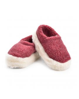 Red Merino Wool Slippers - Siberian Footwear