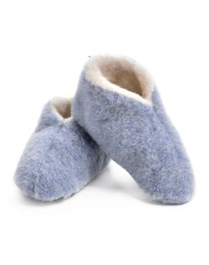 Blue Merino Wool Bootie Slippers - Skiper Footwear