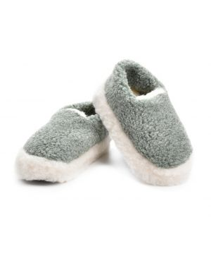 Green Merino Wool Slippers - Siberian Footwear