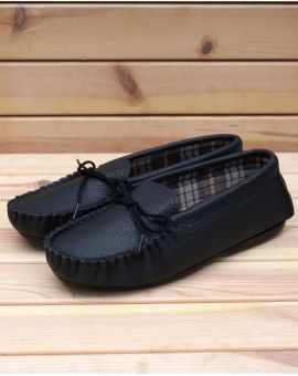 Blue Leather Moccasin Slippers - Hamish
