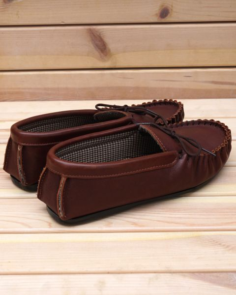 Leather Moccasin Slippers - Tan Footwear