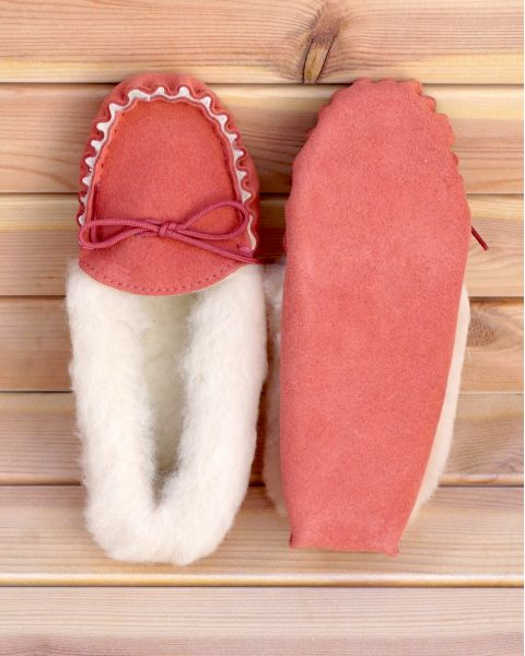 Ladies Pink Suede Moccasin Slippers with Lambswool Lining - Soft Sole Moccassin Slippers