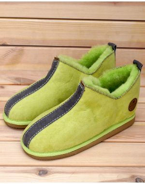 Green Sheepskin Slippers - Tilde Footwear