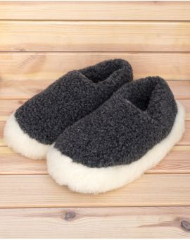 Graphite Merino Wool Slippers - Siberian Footwear