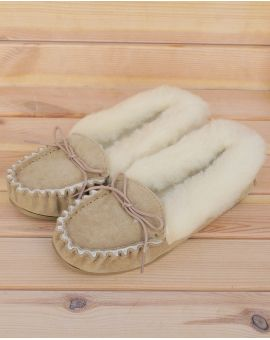 Ladies Suede Moccasin Slippers with Lambswool Lining - Hard Sole