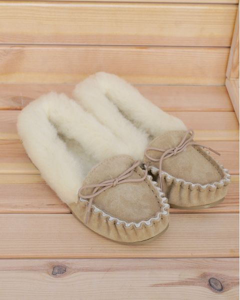 Ladies Suede Moccasin Slippers with Lambswool Lining - Hard Sole Moccassin Slippers