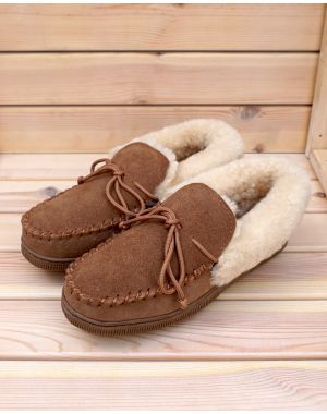 Ladies Sheepskin Moccasin Slippers - Kelly