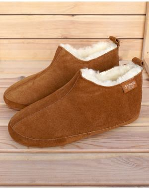 Mens Fenland Sheepskin Booty Slippers - Tan Footwear