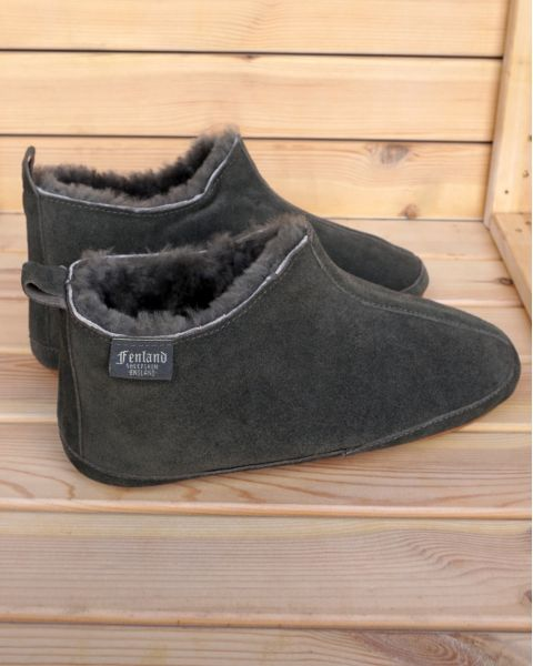 Mens Fenland Sheepskin Booty Slippers -  Grey Footwear