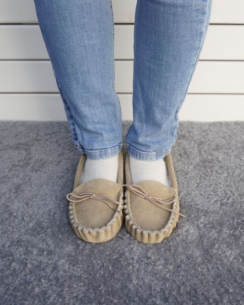 Suede Moccasin Slippers with Lambswool Lining - Soft Sole Footwear