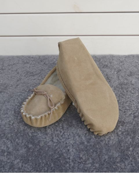 Suede Moccasin Slippers with Lambswool Lining Soft Sole Mens