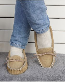 Suede Moccasin Slippers with Lambswool Lining - Hard Sole
