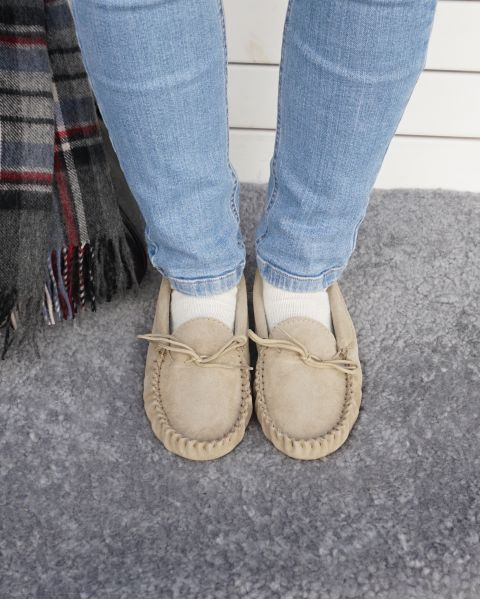 Suede Moccasin Slippers with Cotton Lining - Hard Sole Footwear