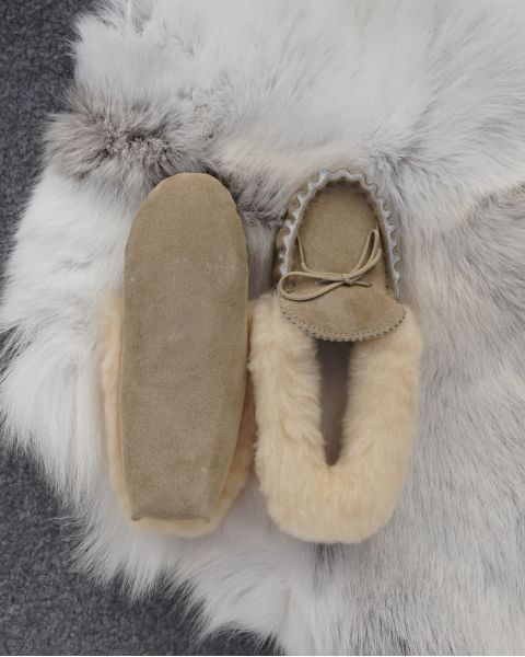 Ladies Sheepskin Lined Moccasin Slippers Soft Sole Footwear