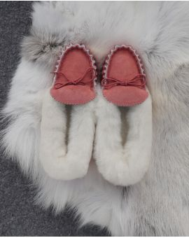Ladies Pink Sheepskin Lined Moccasin Slippers - Soft Sole