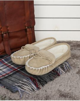 Sheepskin Lined Moccasin Slippers - Soft Sole