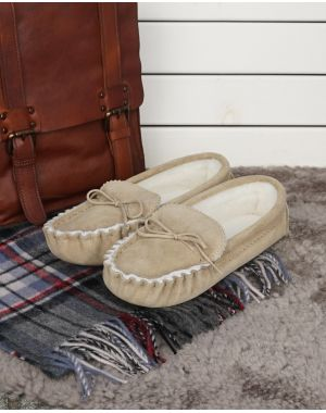 Sheepskin Lined Moccasin Slippers - Soft Sole Footwear